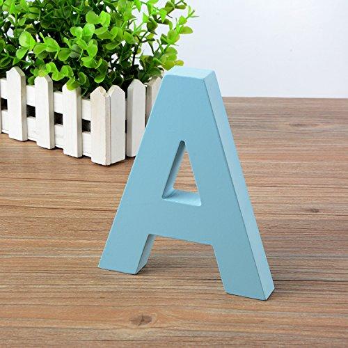 Doolland® aus Holz zum Aufhängen Wand Buchstaben A-Z–Blau Deko Wand Buchstabe für Kinder Kinderzimmer Baby 's Zimmer, Baby Namen und Mädchen Schlafzimmer Dekor a (Wand-buchstaben Runde)