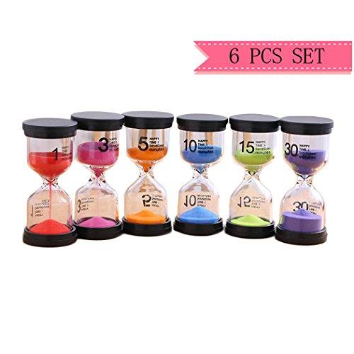Sanduhren-Set, Zeitmesser / Timer für Kinder, Sanduhren, Glas, für Kinder, 1 Set mit 1min, 3min, 5min, 10min 15min 30Min