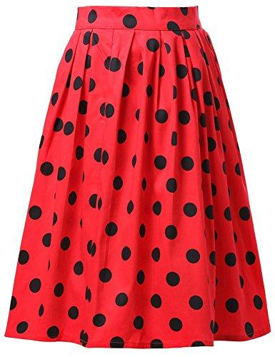 Fashion Damen Sommer Rock Knielang mit Schwarz Polka Dots M CL6294-1 (Rock Polka Baumwolle Dots)