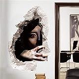 YCRD Wandaufkleber Halloween 3D Wandbilder Weiblichen Geist Wasserdicht DIY Layout Wohnzimmer Schlafzimmer Wanddekoration,C