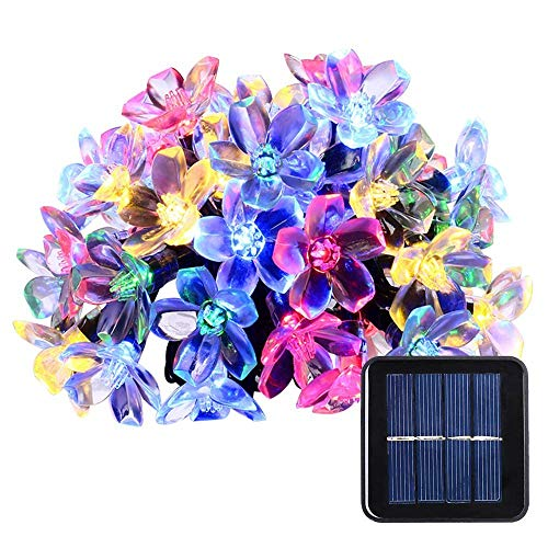 Solar Christmas String Lights 33ft 100 LED Cherry Blossom Flower Starry Fairy Lights Decorative Lighting for Garden Patio Tree Party Bedroom Xmas Decorations Indoor and Outdoor-Colorful (Cherry Christmas Lights)