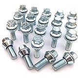 Llantas de aleación pernos para muñecos variable PCD, chapado en Zinc M12x 1,25(M12x 1,25) Taper asiento, 17mm hexagonal, 29mm). Set de 20pernos de rueda (# 2)