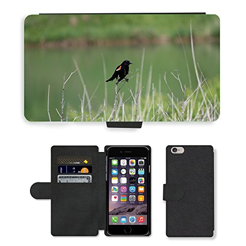 Just Mobile pour Hot Style Téléphone portable étui portefeuille en cuir PU avec fente pour carte//m00139664perruche oiseau Merle noir extérieur//Apple iPhone 6Plus 14cm