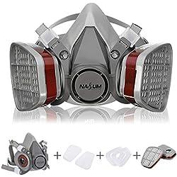 Masque à Gaz NASUM Double Couche Masque Respiratoire de Protection/Filtre de Protection Chimique Antipoussière Réutilisable à Demi-Visage, pour Travail dans la Pulvérisation/Peinture (Version 3.0)