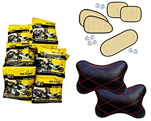 Auto Pearl Premium Quality Combo Of Air Gloss Premium Quality Car and Bike Instant Shiner Wax Foam -Pack of 20 Pcs. & Chipkoo Sun Shade Curtain Beige Set of 5 Pcs. & Car Vastra Neck Rest Cushion Red Black Set of 2 Pcs.