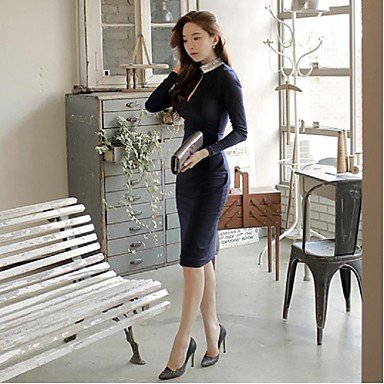 PU&PU Robe Aux femmes Gaine Simple,Couleur Pleine Mao Mi-long Polyester DARKBLUE-L