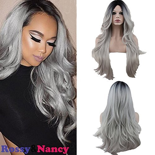 Rossy&Nancy Two Tones Cheap Synthetic Long Wave Heat Resistant Wig Free Part Ombre Black Rooted Silver Gray 130% High Density for Women by Rossy&Nancy