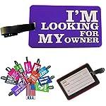 K7plus® Kofferschild Gepäckanhänger Kofferanhänger Adressanhänger Taschenanhänger in knalligen Farben mit coolen Sprüchen (violett / lila - My Owner)