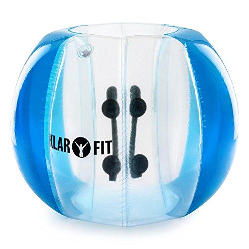 Klarfit Bubball AB Pelota de burbuja • Bola hinchable • Adultos • Dimensiones 75x110cm • Amortigua caídas y choques • Juego futbol • Incluye bomba eléctrica • Resistente PVC • Big ball football Soccer • Juego deporte • Transparente • Azul