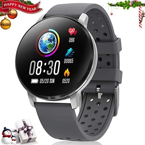 CatShin Smart Watch Aktivitäts-Tracker mit Herzfrequenzmesser - CS06 IP68 wasserdichte Fitness-Bluetooth-Uhr, runde Multifunktions-Sportuhr für Herren und Damen, kompatibel mit iOS und Android (grau)
