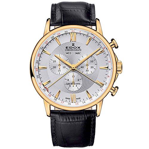 EDOX LES BEMONTS del hombre 42mm banda de cuero reloj cuarzo suizo 1050137J AID