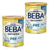 Nestlé BEBA Optipro Pre, Säugling Milch, Babynahrung, Anfangsmilch von Geburt an, Glutenfrei, Dose, 2 x 800 g, 12341139