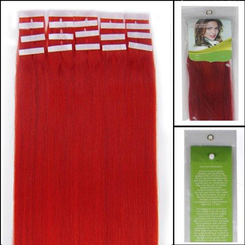 40,6 cm Bandes adhésives humains Extensions de cheveux lisses Couleur Rouge 30 g 20 pièces Beauté Cheveux Style