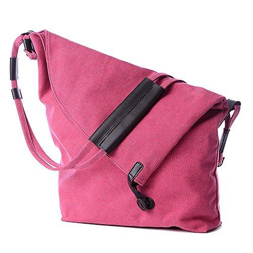 iLory Unisex Leinwand Retro Umhängetasche Messenger Bag Hochschule Stil Schultertasche,6 Farben Rosa