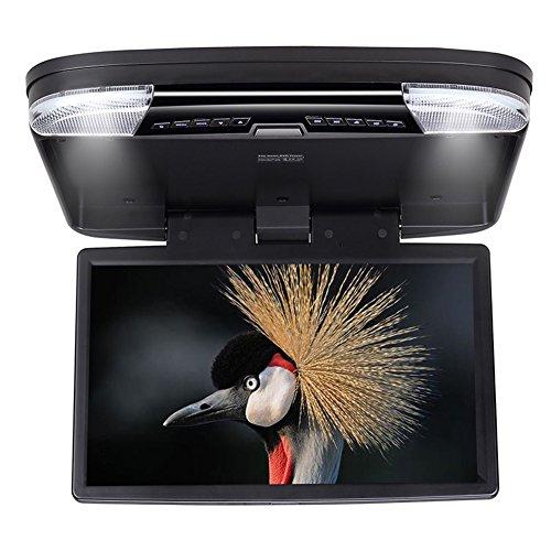 DDAUTO 15,6 Zoll Overhead DVD Player IPS Bildschirm Deckenmonitor 1080p HD Flip Down Monitor mit Wireless Fernbedienung, Gamepad, Douple- Dachinnenbeleuchtung, unterstützt USB, SD, HDMI, Spiele (DD1556B) (Wireless-auto-dvd -)