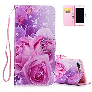 Aeeque iPhone 7 Plus Cover, iPhone 7 Plus Wallet Case, Elegant Purple Rose Pattern and Book Style PU Leather Folio Flip Magnetic Closure Wallet Holster with Card Slots for iPhone 7 Plus 5.5 inch