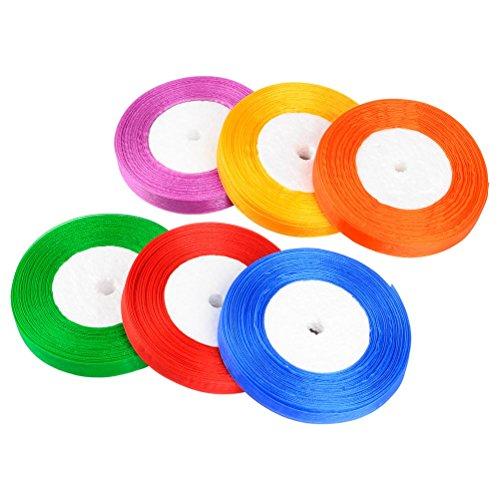QLOUNI 6er Sartinband 45m X12mm Seidenbänder Seidenband Schleifenband stoffband Geschenkband Weihnachtsband Dekoband für Hochzeit Weihnachten Geschenkverpackung Neujahr, 6 Farben