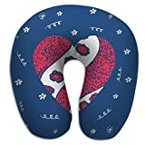 zexuandiy U Shaped Pillow Neck Travel Pillow Car Airplane Greeting Card Print Valentine s Day World Heart Hand Drawn red Pattern