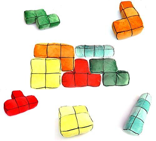 ❖ 5er Set Tetris 3D Plüsch Kissen - Der Computerspiel-Klassiker zum kuscheln als Sofakissen❖ thumbnail