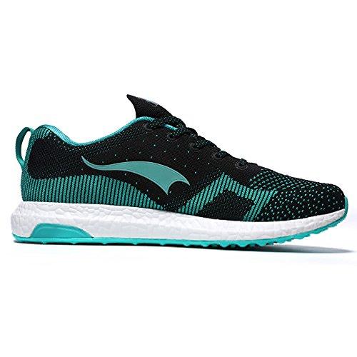 ONEMIX Homme Femme Air Chaussures de course running Sport Compétition Trail Mixte Adulte ete Baskets Basses Black/Green