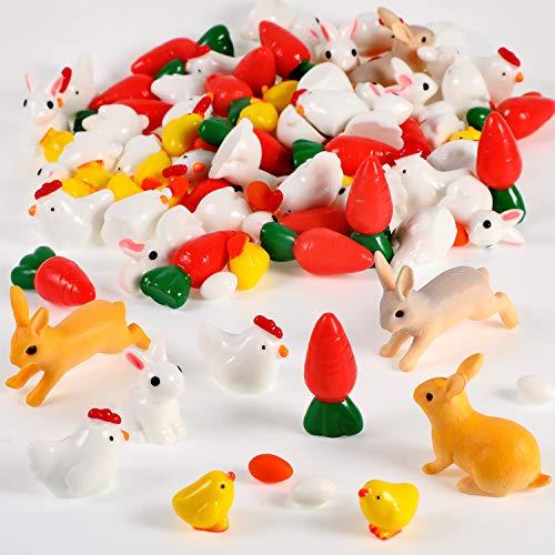 Fiada 124 Stücke Ostern Miniatur Dekorationen Bunny Gefälschte Karotten Kaninchen Harz Küken Eier Bonsai Ornament Set für Haus Fee Garten Landschaft DIY Haus Dekor -