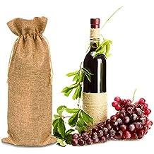 Xiangpian183 Yute Burlap Wine Bags with Drawstring- 12pcs Bolsas de Vino Reutilizables Champagne Bottle Bundle