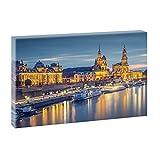 Dresden - Stadt an der Elbe 2 | Größe: 100 cm x 65 cm | Panoramabild im XXL Format | Trendiger Kunstdruck auf Leinwand