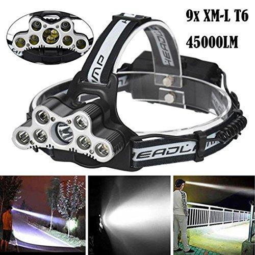 Moonuy Lampes Frontales,45000 LM 9X XM-L T6 Lampe Frontale LED Puissante Rechargeable 6 Modes, Base réglable + Conception imperméable Lampe Torche de Voyage Phare Lampe Torche (A)