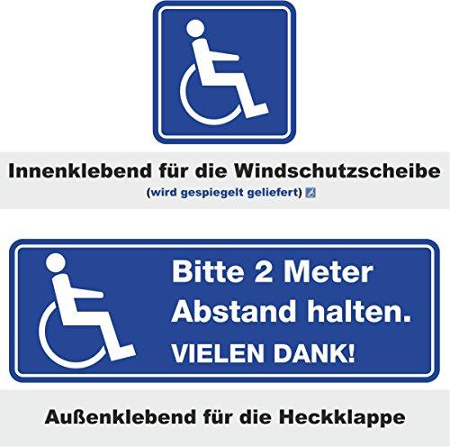 iSecur Auto-Aufkleber-Set Bitte 2 Meter Abstand halten. Vielen Dank! + Rollstuhl-Aufkleber I hin_243 I für Rollstuhl-Fahrer, Menschen mit Behinderung