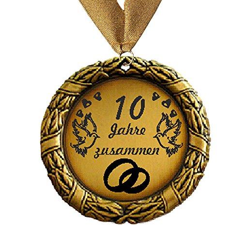 Medaille Orden 10 Jahre zusammen bzw. Wunschtext Hochzeit Goldhochzeit Jubilar