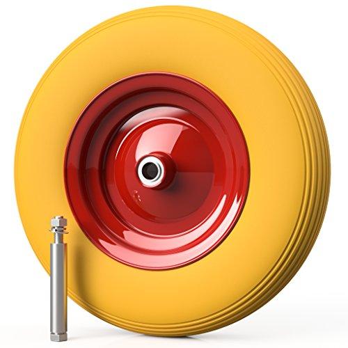 Preisvergleich Produktbild PREMIUM PU Schubkarrenrad Ø 400 mm 4.80/4.00-8 PANNENSICHER (gelb/rot) mit ACHSE 100 mm (1)
