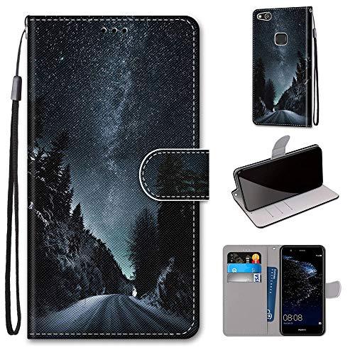 Miagon Flip PU Leder Schutzhülle für Huawei P10 Lite,Bunt Muster Hülle Brieftasche Case Cover Ständer mit Kartenfächer Trageschlaufe,Nacht Straße