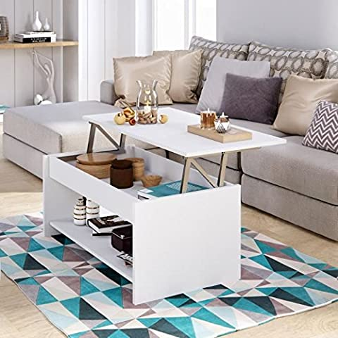 HAPPY Table basse transformable 100x50 cm - Blanc mat