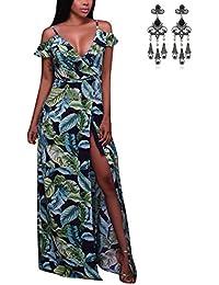 MODETREND Mujer Vestido Playa Boho Chic de Sin Tirantes con Florales Impresa Maxi Casual Coctel Fiesta Vestidos