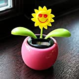 Solar Powered Dancing Flower Plant Pot - Flip Flap Sunflower (Pink) by PK Green