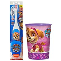 Paw Patrol Skye Toothbrush Set: 2 Items - Spinbrush Toothbrush, Pink Character Rinse Cup
