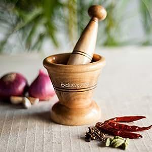 ExclusiveLane Wooden Spice Mortar & Pestle In Natural Brown - Masala Mixer Medicine Mixer Grinding Spices Hodler