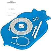 Destra Clistere Bag per la profonda Clisteri - Aperto fontana top per una facile pulizia & Igienico (4 quarto) - no leaky adattatori O bottiglia convertitori; Incolla Verticale - Blu