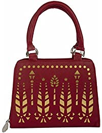 purses for women branded leather by EDGEKART® | Stylish shinning PU Leather Handbag For Women and Girls - Maroon
