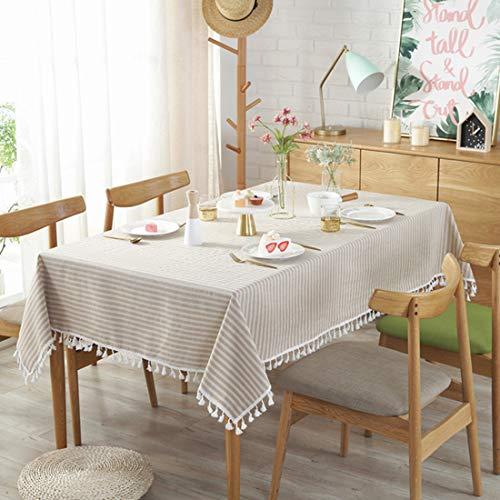 Gwell tovaglia rettangolare a strisce in cotone con nappa, facile da pulire, tovaglia runner da tavolo, colore a scelta, beige, 100x140cm