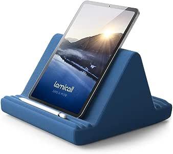 Lamicall Coussin de Support pour Tablette - Oreiller Support Tablette pour Canapé-lit, pour 2020 iPad Pro 9.7, 10.5, 12.9, iPad Air mini 2 3 4, Switch, Tab, iPhone, Livre, autre Tablette - Bleu