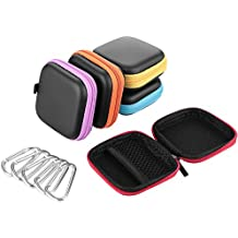EBYTOP Auricolare Case Mini Borse quadrati da portare con lo zip , colori assortiti, 5 Pack