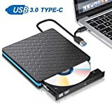 SAWAKE Externes Laufwerk CD/ DVD Brenner USB 3.0 und Typ-C, tragabar Externe DVD/CD Player PC, für Win10 /8/7/XP, Linux, Laptop, Mac/MacBook Air/ Pro/ iMac, Vista 7/ 8 - Aluminiumlegierung Schwarz