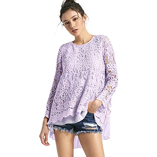 Femmes Tops Dentelle blouse chic et à la mode automne Pull-over Femme T-shirt Haut Longue Manche Casual Automne hiver Violet