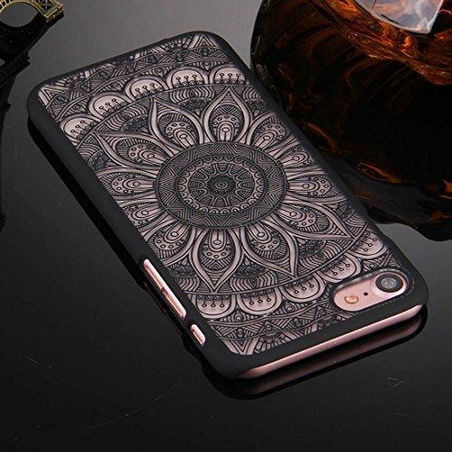 GHC Cases & Covers, Für iPhone 7 geprägtes Lotus Muster Plastik schützender rückseitiger Abdeckungs-Fall ( Color : Pink ) Black