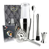 GRAND Cocktailset mit Boston Cocktail Shaker | Ideal für Zuhause oder die Bar | 6er Set Inklusive 50 Cocktail Rezeptkarten auf Deutsch. Premium Barkeeper Cocktailshaker Set.