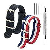 KDM Nato Strap Pack von 2 - 20mm 22mm Premium Ballistic Nylon Uhrenarmbänder mit Edelstahl-Schnalle, Top Frühling Bar Werkzeug und 4 Frühling Riegel (Black+Navy Crimsion Ivory, 22mm)