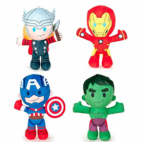 PACK 4 PELUCHES HULK, IRON MAN, THOR, CAPITAN AMERICA LOS VENGADORES AVENGERS MARVEL SOFT 21 CM