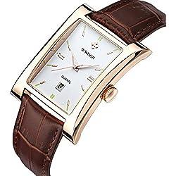 Frauen echtes Leder quadratisch Luxus Kleid Uhren Damen Rose Gold Sport Uhren für Femme braun