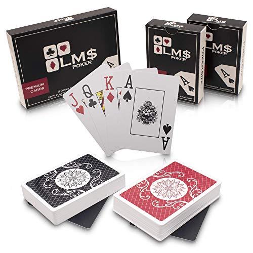 LMS 2 x Pokerkarten aus Plastik Profi wasserfest mit Cut Cards und Jumbo Index - hochwertige Pokerkarten 54 Blatt aus Kunststoff im Set mit 2 Decks - Spielkarten Doppelpack - Plastikkarten